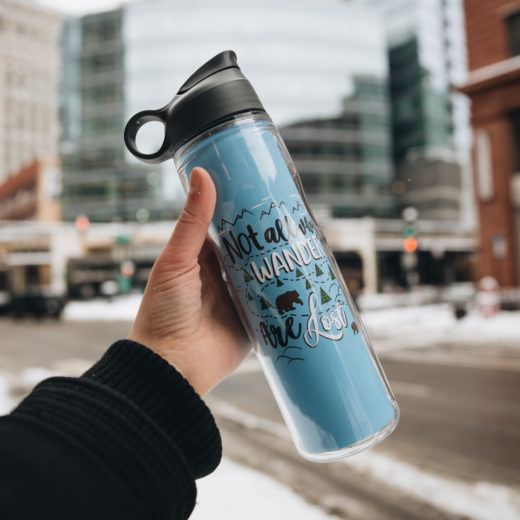 custom water bottle inspiration not all who wander are lost